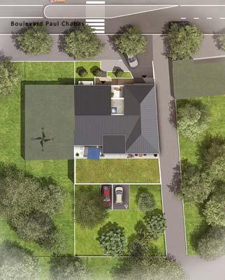 CBI - Plan de masse, vue du haut, résidence neuve Villa Dahlia à Nantes Procé
